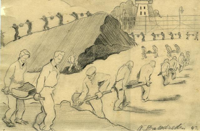Заключенные Саласпилса за работой. Рисунок неизвестного заключенного, 1943 год.