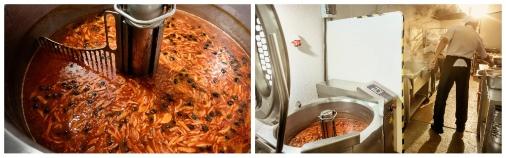 В новый котел входит 150 литров супа, но варят по 130-135 литров, иначе трудно размешать. Солянка в LIDO в почете – в день варят по 3-4 котла
