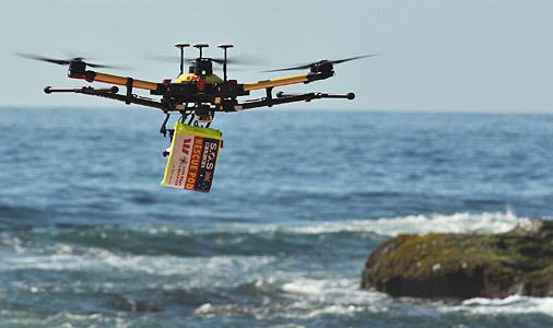 Австралийцы впервые вистории успешно применили беспилотник для спасения утопающих