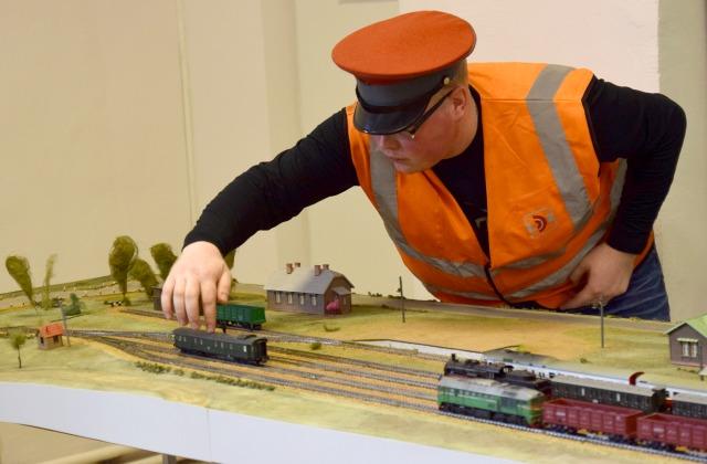 Модели поездов в железнодорожном музее в Риге