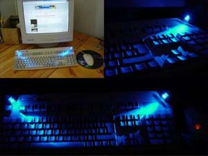 Тут автор использовал кнопки от старой клавиатуры и сверхяркие светодиоды.  Освещение получилось неплохим, но конечно...