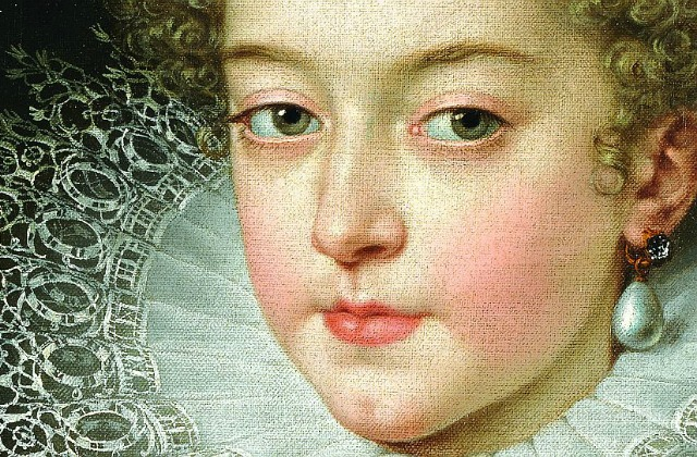 Фрагмент портрета королевы Испании Изабеллы Бурбон, первой жены Филиппа IV,  Франс Пурбус Младший (не позднее 1615 года). Музей Прадо. Мадрид.