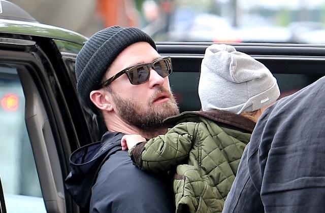 Джастин Тимберлейк с сыном Сайласом направляются в художественную галерею в Нью-Йорке
